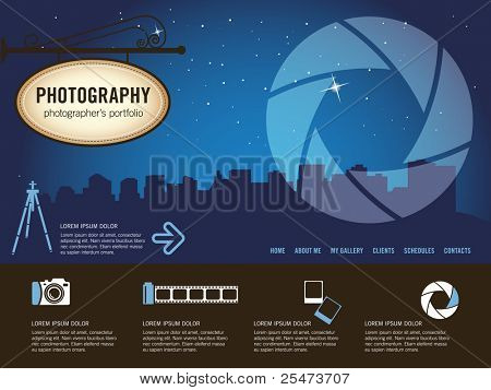 Photography website template, illustration
