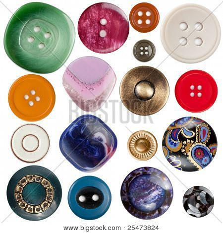 Collection of various sewing buttons