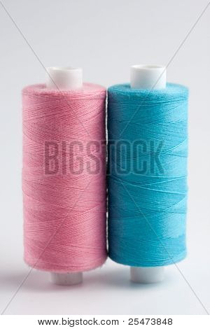 Close-up of spools of thread