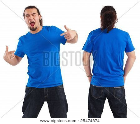 Male Pointing At His Blank Blue Shirt
