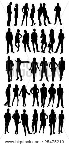 Silhouettes of casual people