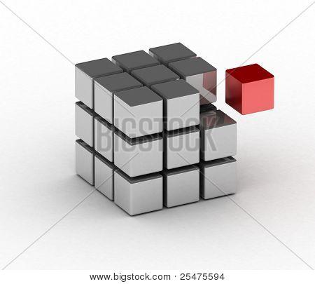 Würfel mit einem roten block