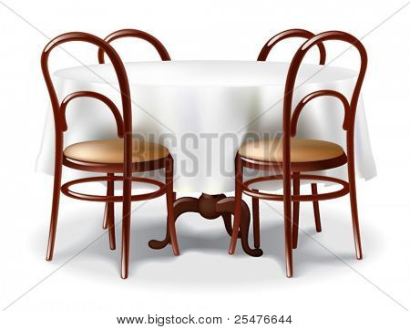 Round table and a chairs on white