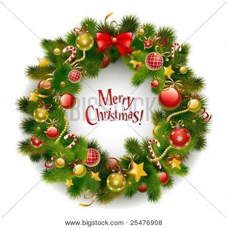 Christmas Garland auf weißen Vektor-Bild