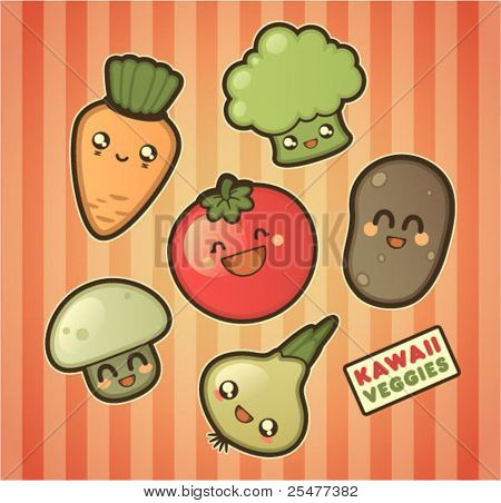 Kawaii smiling vegetables