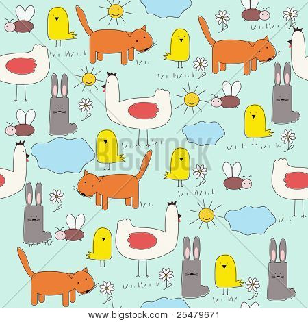 Seamless of cartoon animals (children's drawings) . Vector eps10 illustration
