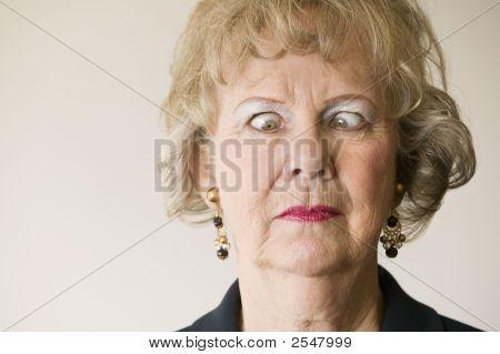 Senior Woman With Crossed Eyes
