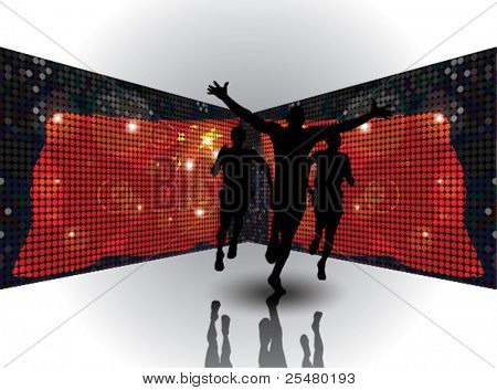 Vector Illustration of a man winning a race in front of mirrored chines flags. eps10