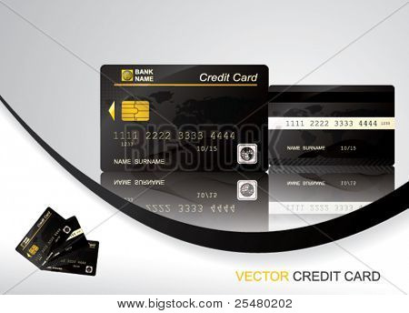 Vector Black Credit Card, front and back view