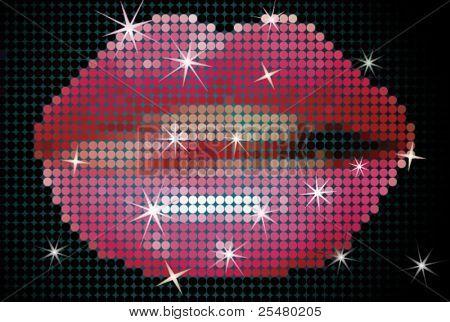 Vector Illustration of Shiny Lips on Screen