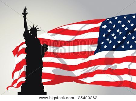 Vector Illustration of Miss Liberty with American Flag.