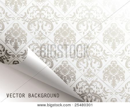 Curled corner of floral background page