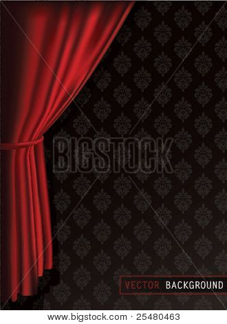 Fondo de cortinas rojas.