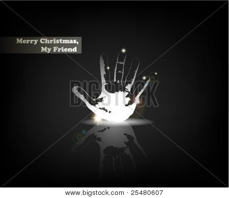 """Merry Christmas, My Friend"". From Serial of minimalistic contemporary Greeting Christmas Cards."