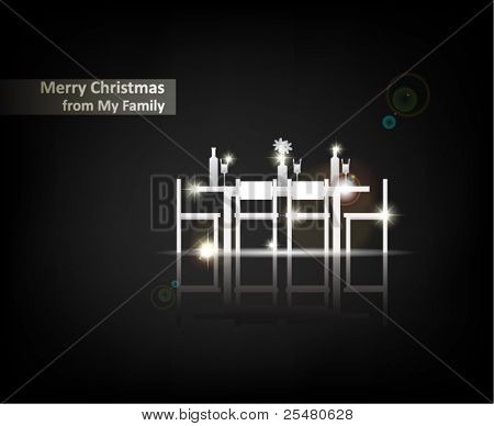"""""""Merry Christmas from my Family"""". From Serial of minimalistic contemporary Greeting Christmas Cards."""