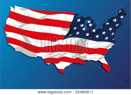 High Detail vector Map of the United States of America States, with each state on its shape.