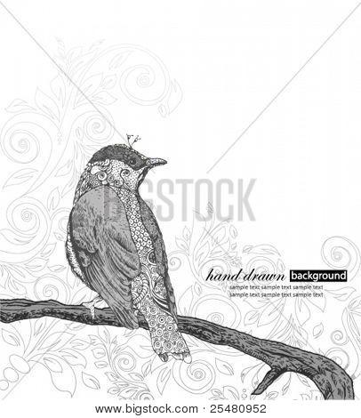 Handgezeichnete Vogel auf Zweig.