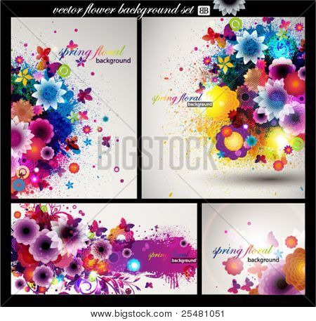 Floral Background set.