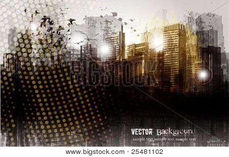 Panorama da cidade de grunge.