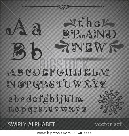 Swirly Alphabet. Highly detailed vector illustration.