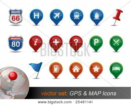 GPS- und MAP Icon Set.
