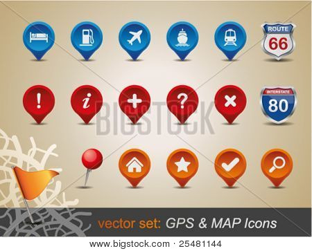 GPS- und MAP Icon Set. Vektor-Illustration.