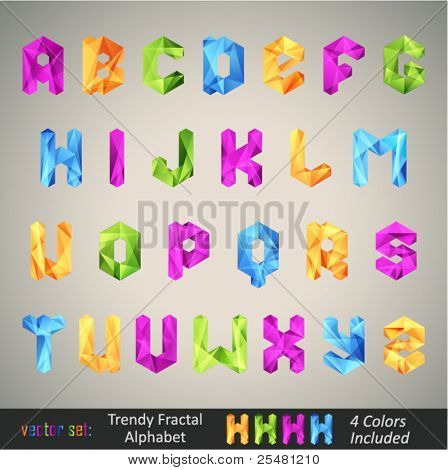 Trendy Colorful Alphabet based on Fractal Geometry. There is 4 color versions for each letter in different layers.