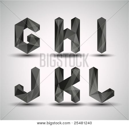 Trendy Black Fractal Geometric Alphabet. GHIJKL, Vector Illustration.