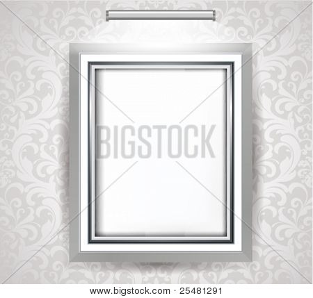 Empty Frame on white decorated wall.