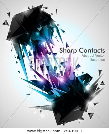Sharp Contacts, 3d Abstract shapes Background.
