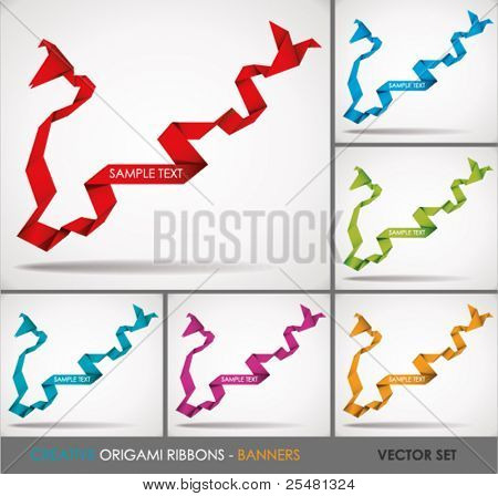 Creative Paper Origami Ribbons-Banners. Vector Set. Illustration.