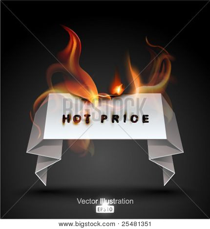 Burning Paper Banner. Hot Price.