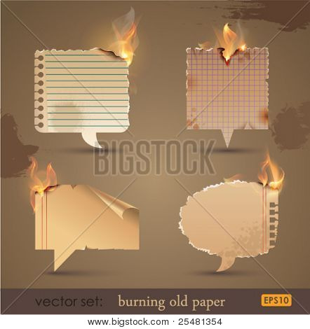 Vector set: Burning Old Paper. Vector Illustration