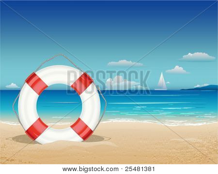 Sea landscape with lifebuoy. Vector Illustration. Eps8