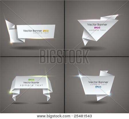 Vector conjunto de bocadillo de diálogo de origami. EPS 10.