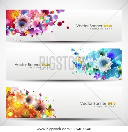 Set Of Floral Header. Vector Illustration.