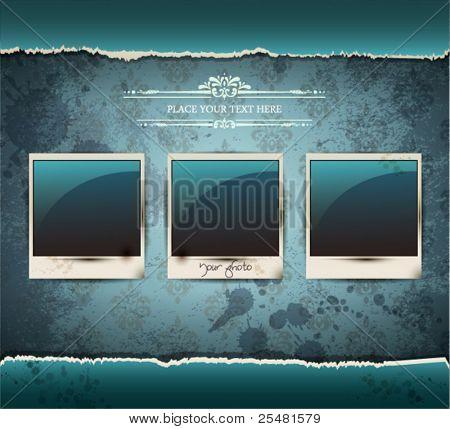 Elegant Vintage empty Photo frame Background.