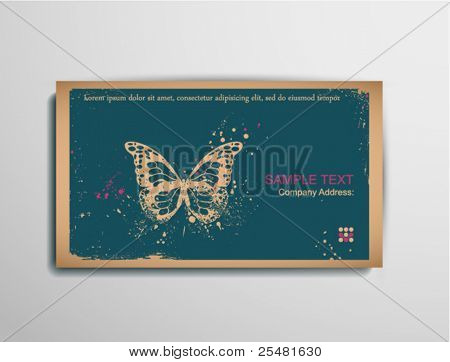 Business/Calling/Visiting Chipboard Card.Butterfly. Two colors card for printing  the old fashioned way, but trendy. Print on blank chipboard textured paper. Size  88.9Ã?50.8mm/3.5Ã?2in.