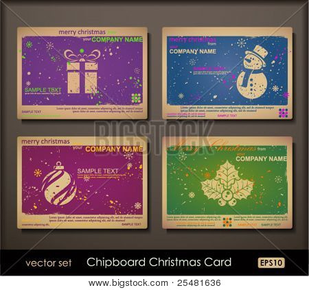 Colorful collection of chipboard Christmas cards. Two colors cards for printing  the old fashioned way, but trendy. Print on blank chipboard textured paper. Size A6 (105Ã?148 mm / 4.1Ã?5.8 in).