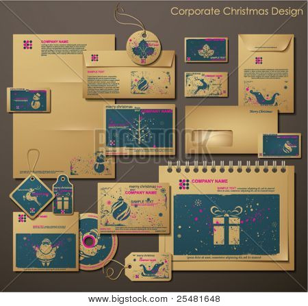 Corporate Christmas Design. Different Christmas Symbols. Two colors different material for printing  the old fashioned way, but trendy. Print on blank brown/recycled paper. Vector Illustration.