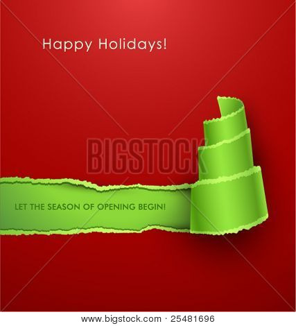 Torn paper in the shape of Christmas tree. Vector Illustration