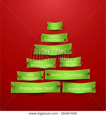 Paper cuts in the shape of Christmas tree with different holidays messages. Vector Illustration