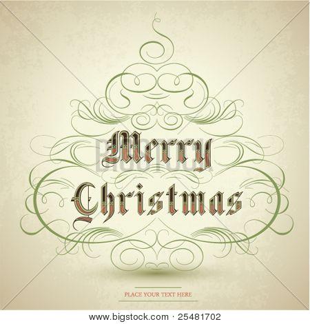 Estilizado árbol de Navidad con adornos de florecer y texto feliz Navidad. Ilustración del vector.