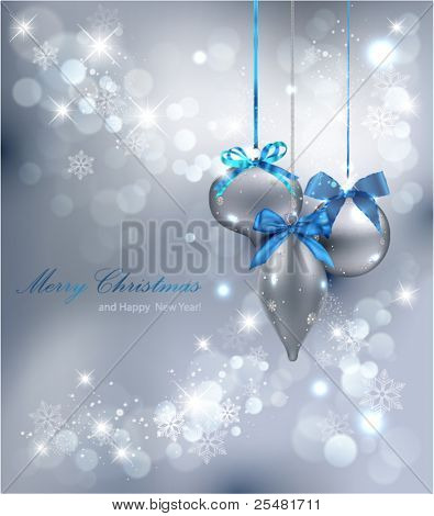 Christmas Background with ornaments. Vector Illustration.