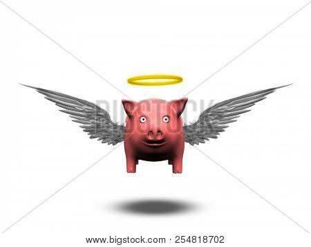 poster of Pig with wings and angelic halo. 3D rendering
