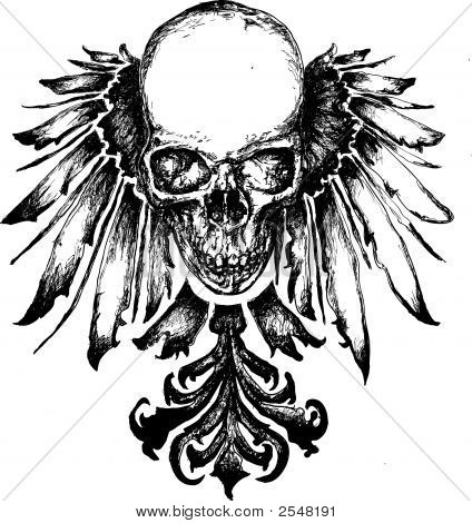 Schädel Heraldik illustration