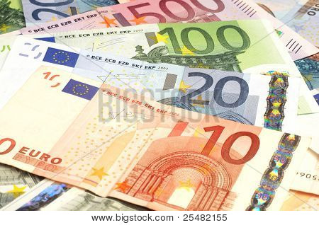 Close-up van Euro-bankbiljetten