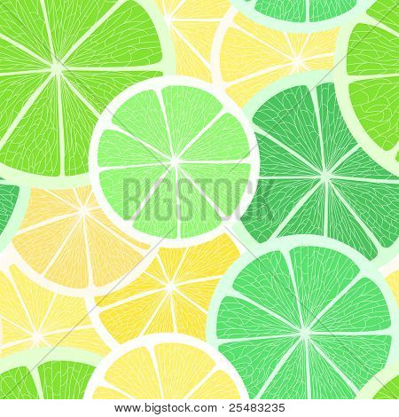 Citrus seamless background. Lime and lemon
