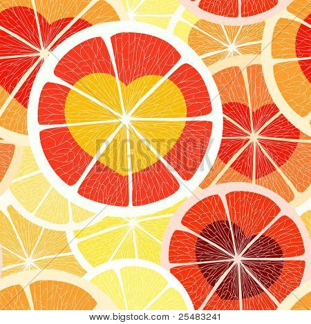 Citrus seamless background. Grapefruit and orange
