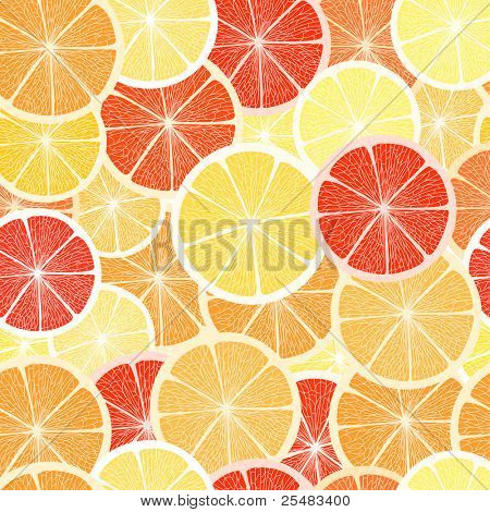 Citrus seamless background. Grapefruit, lemon  and orange